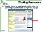 working parameters3