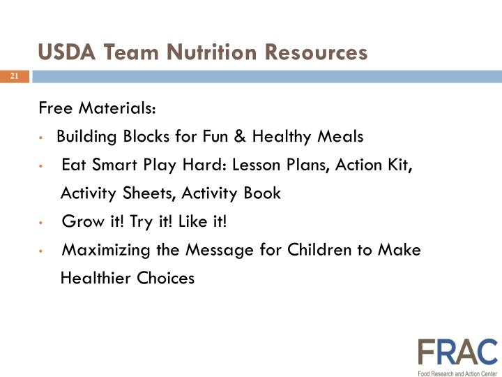 USDA Team Nutrition Resources