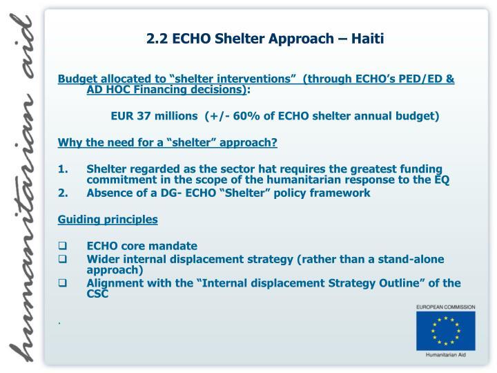 2.2 ECHO Shelter Approach – Haiti