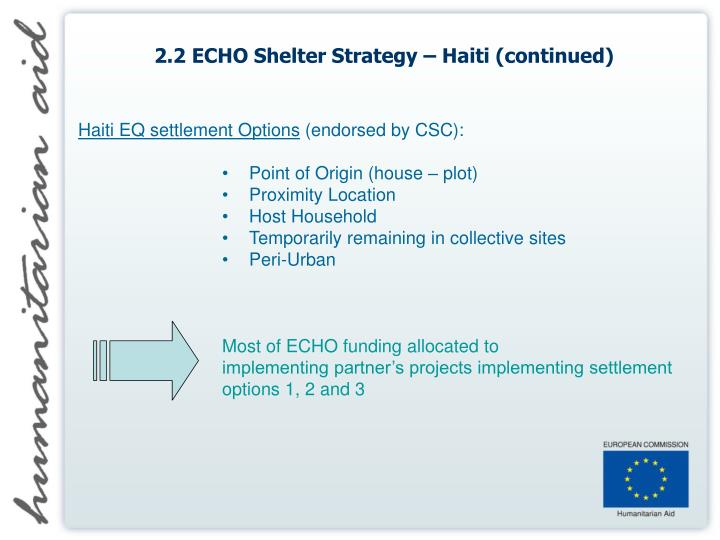2.2 ECHO Shelter Strategy – Haiti (continued)