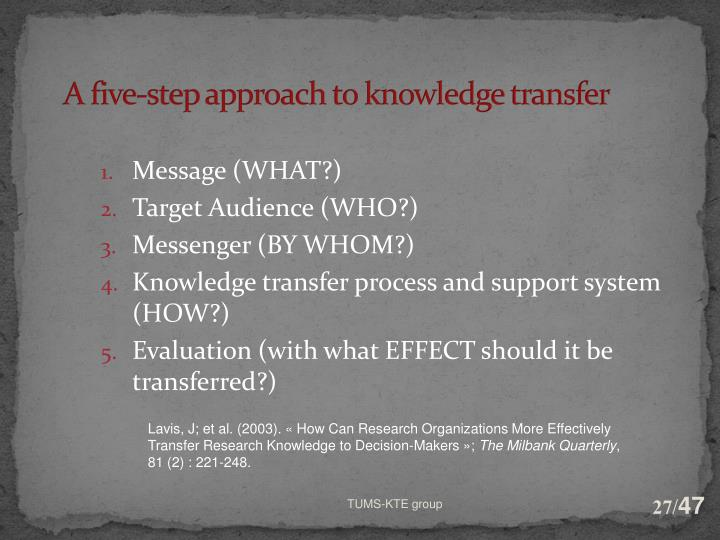 A five-step approach to knowledge transfer