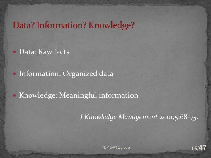 Data? Information? Knowledge?