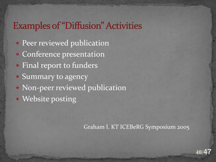 "Examples of ""Diffusion"" Activities"