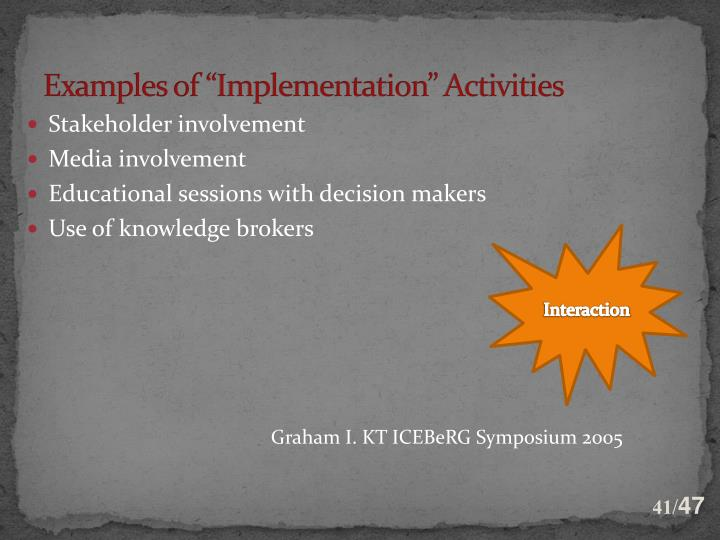 "Examples of ""Implementation"" Activities"