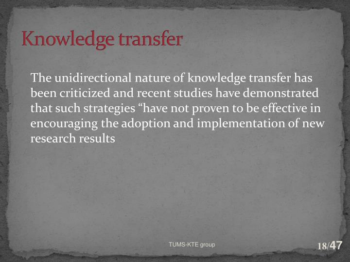 Knowledge transfer