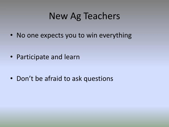 New Ag Teachers