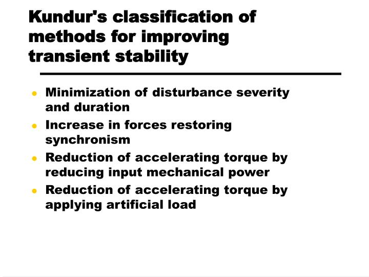 Kundur's classification of methods for improving transient stability