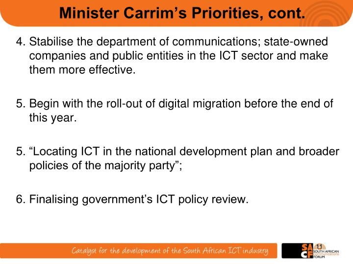 Minister Carrim's Priorities, cont.
