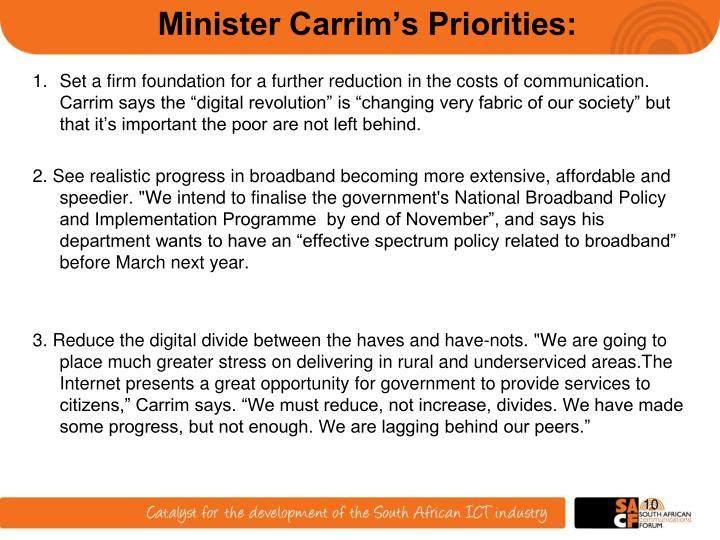 Minister Carrim's Priorities: