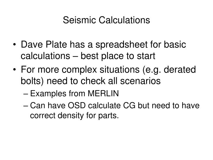 Seismic Calculations