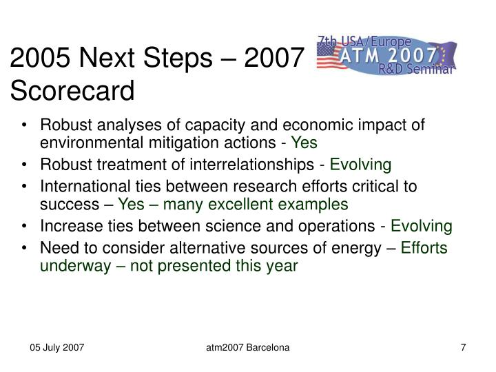 2005 Next Steps – 2007