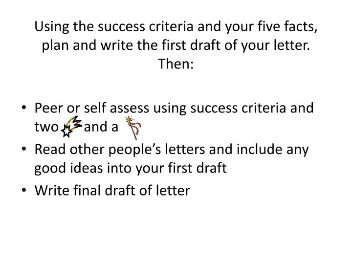 Using the success criteria and