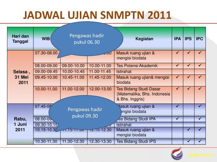JADWAL UJIAN SNMPTN 2011