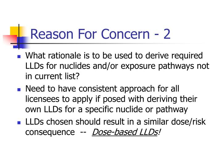 Reason For Concern - 2