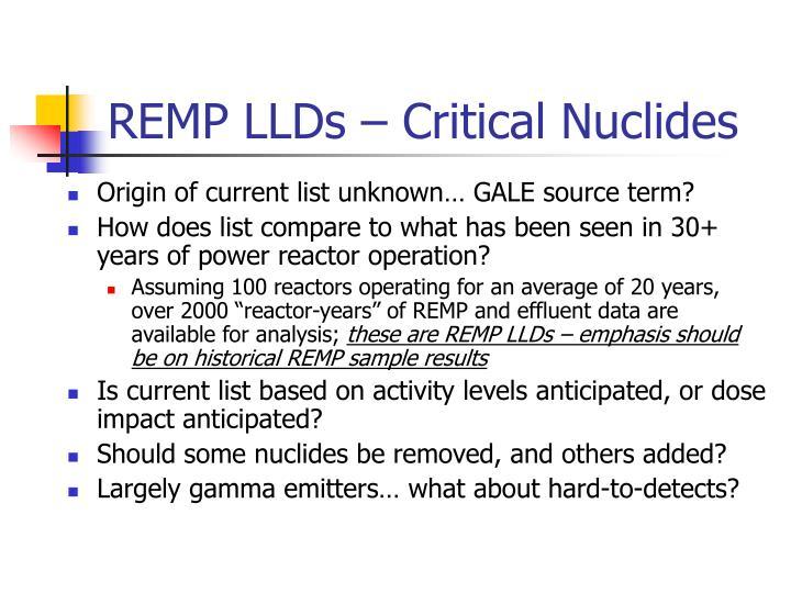 REMP LLDs – Critical Nuclides