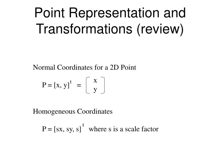 Point Representation and Transformations (review)
