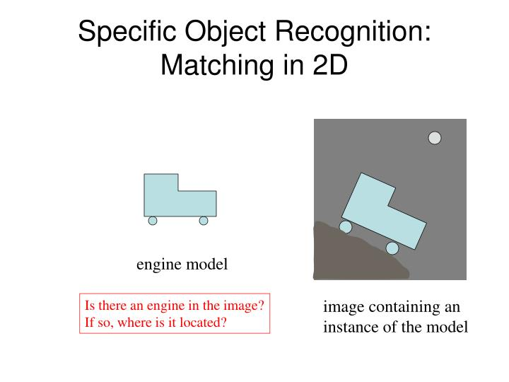 Specific object recognition matching in 2d