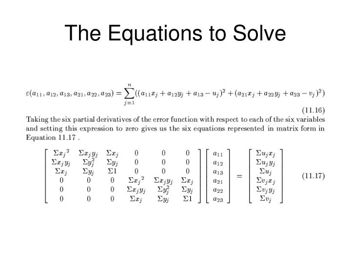 The Equations to Solve