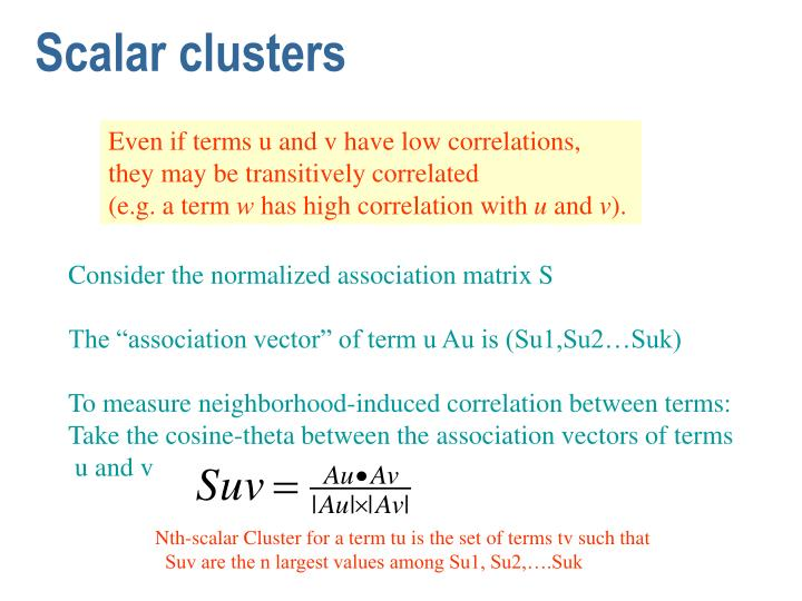 Scalar clusters