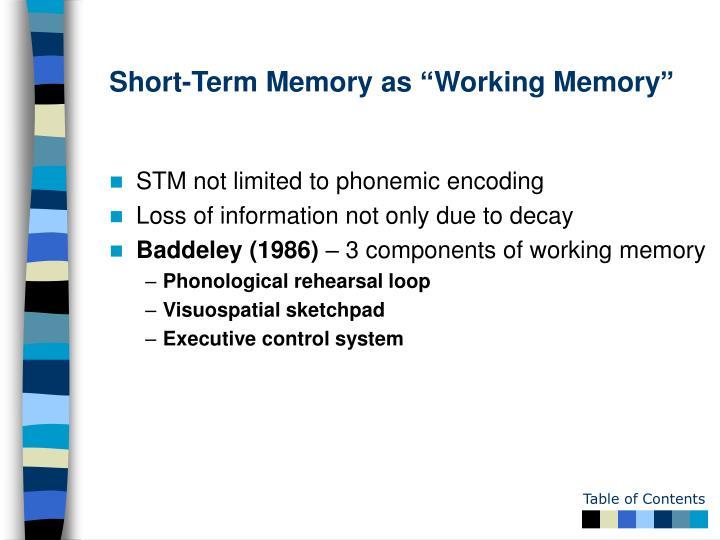 """Short-Term Memory as """"Working Memory"""""""