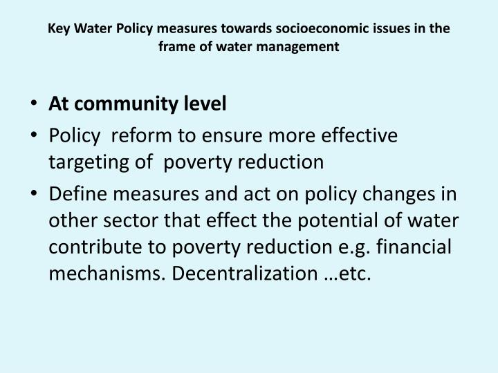 Key Water Policy measures towards socioeconomic issues in the frame of water management