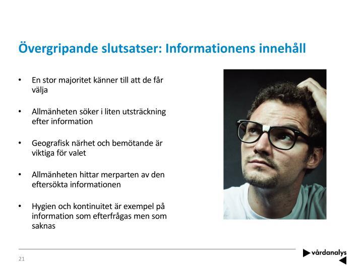 Övergripande slutsatser: Informationens innehåll