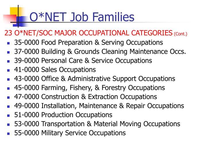 O*NET Job Families