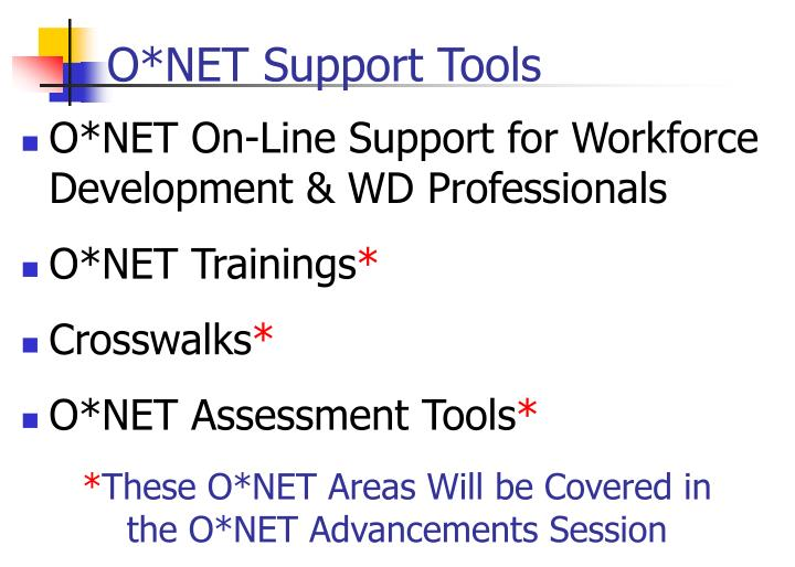 O*NET Support Tools