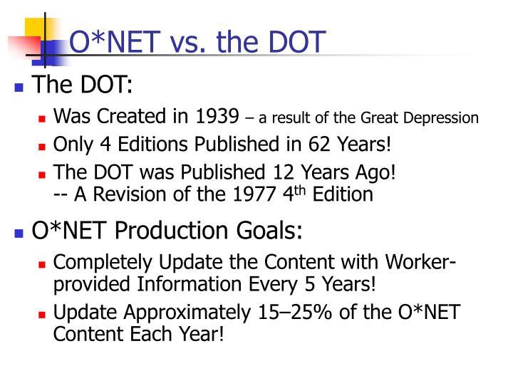 O*NET vs. the DOT
