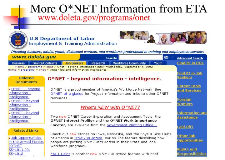 More O*NET Information from ETA