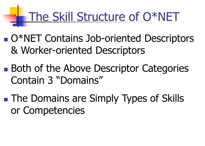 The Skill Structure of O*NET