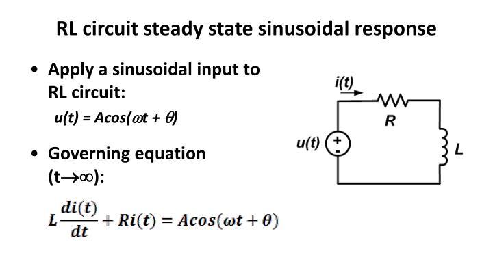 RL circuit steady state sinusoidal response