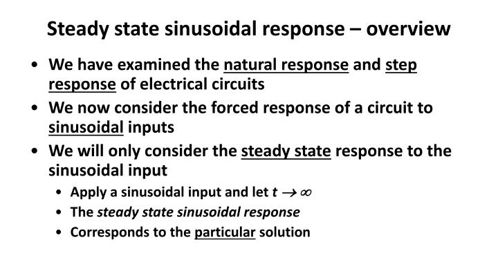 Steady state sinusoidal response overview
