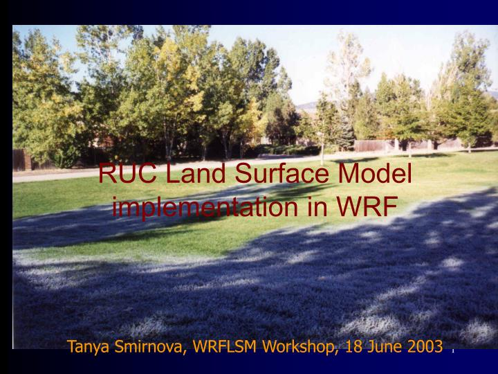 RUC Land Surface Model implementation in WRF