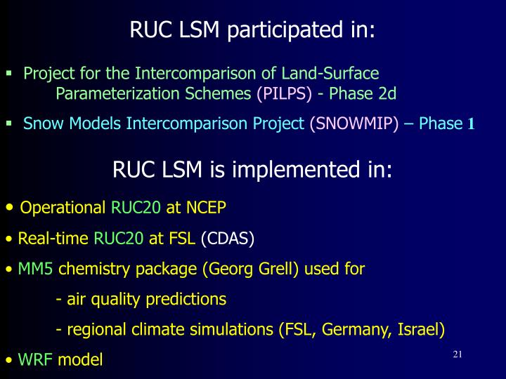 RUC LSM participated in: