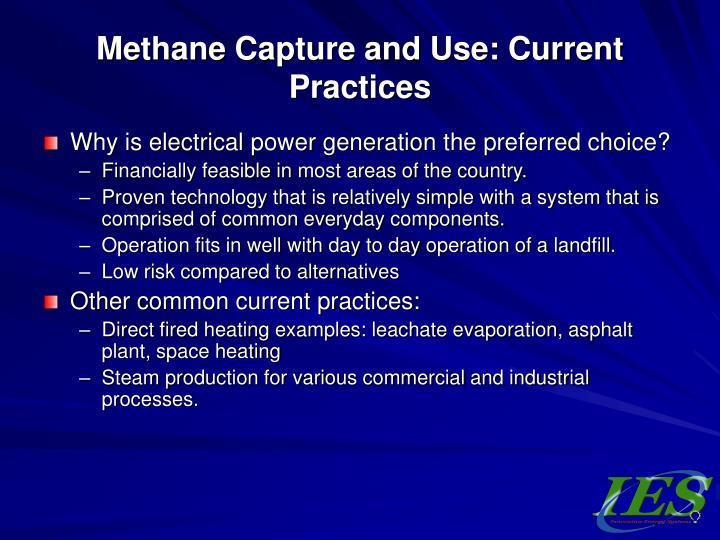 Methane capture and use current practices1