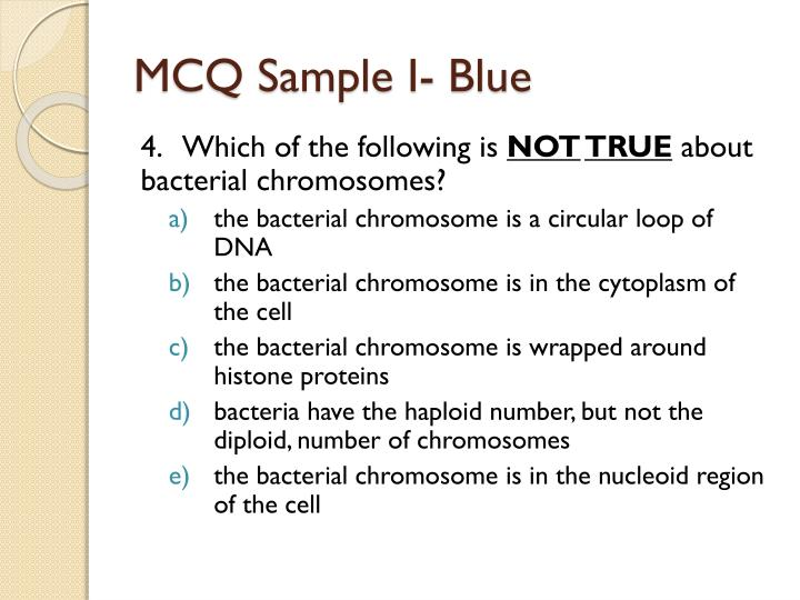 MCQ Sample I- Blue