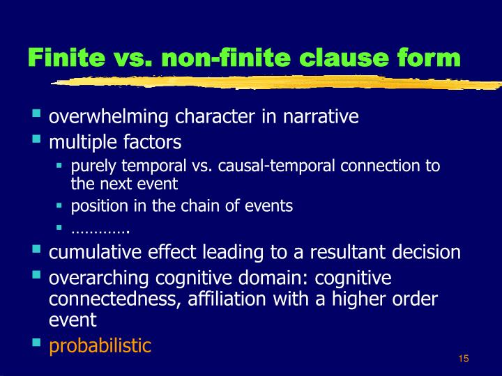 Finite vs. non-finite clause form