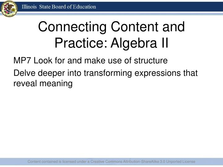 Connecting Content and Practice: Algebra II
