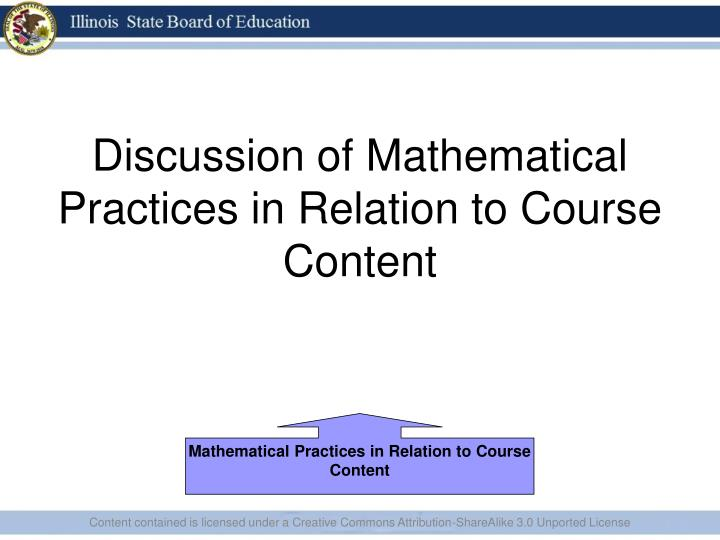 Discussion of Mathematical Practices in Relation to Course Content