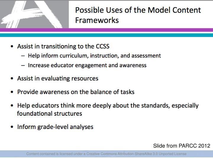 Slide from PARCC 2012