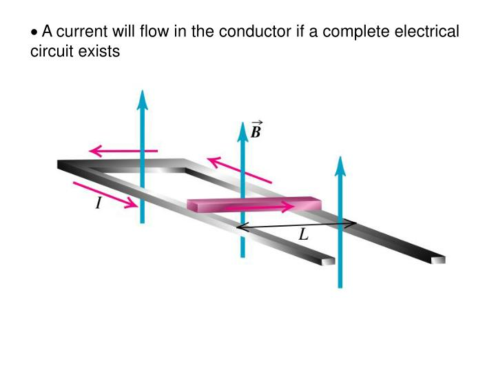 A current will flow in the conductor if a complete electrical circuit exists