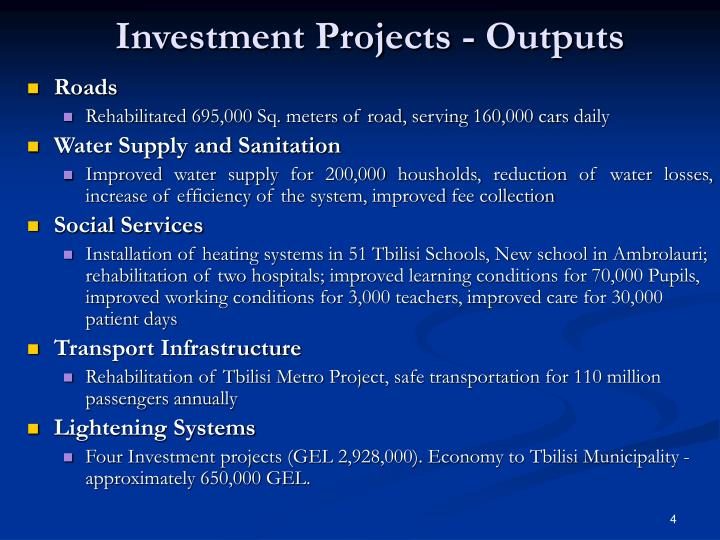 Investment Projects - Outputs