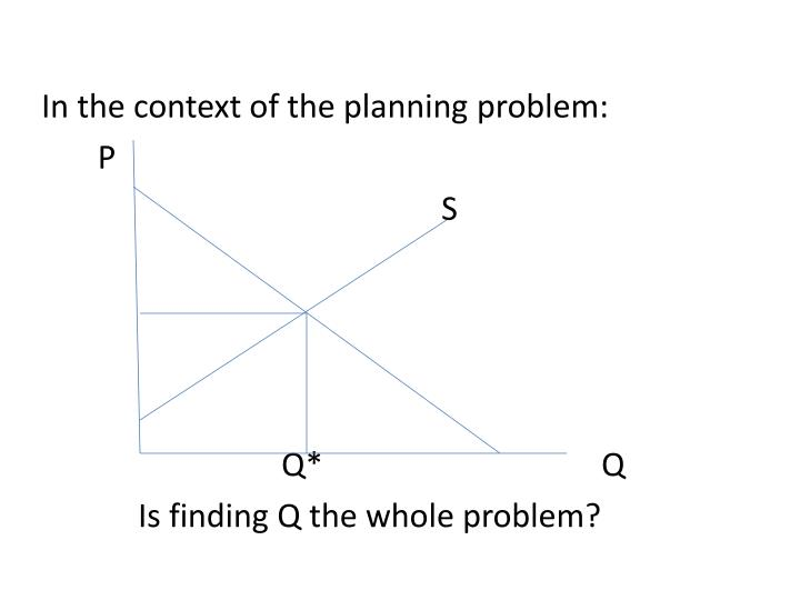 In the context of the planning problem: