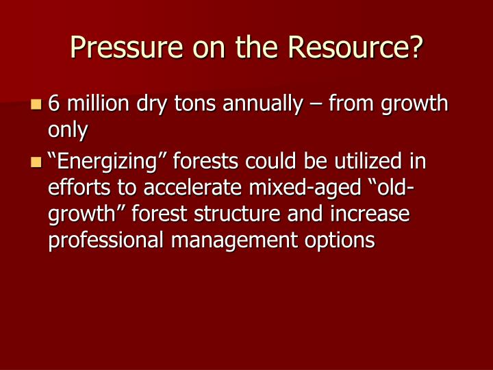 Pressure on the Resource?