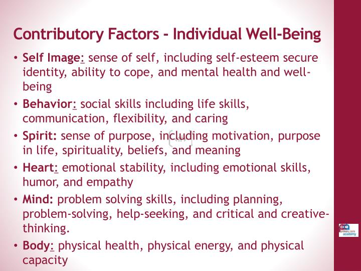Contributory Factors - Individual Well-Being