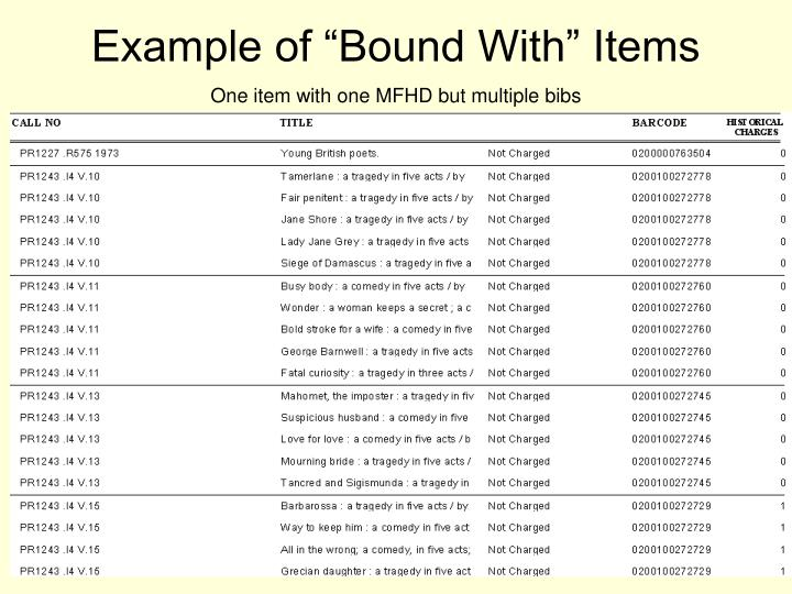 "Example of ""Bound With"" Items"