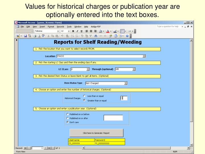 Values for historical charges or publication year are optionally entered into the text boxes.