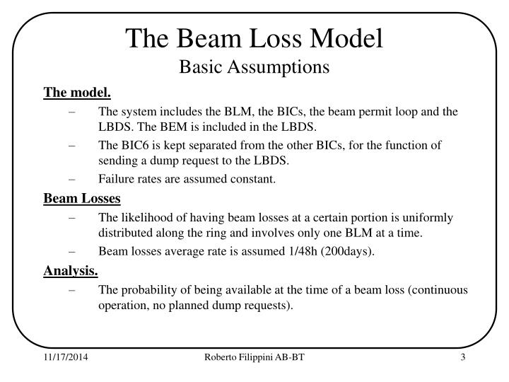 The beam loss model basic assumptions