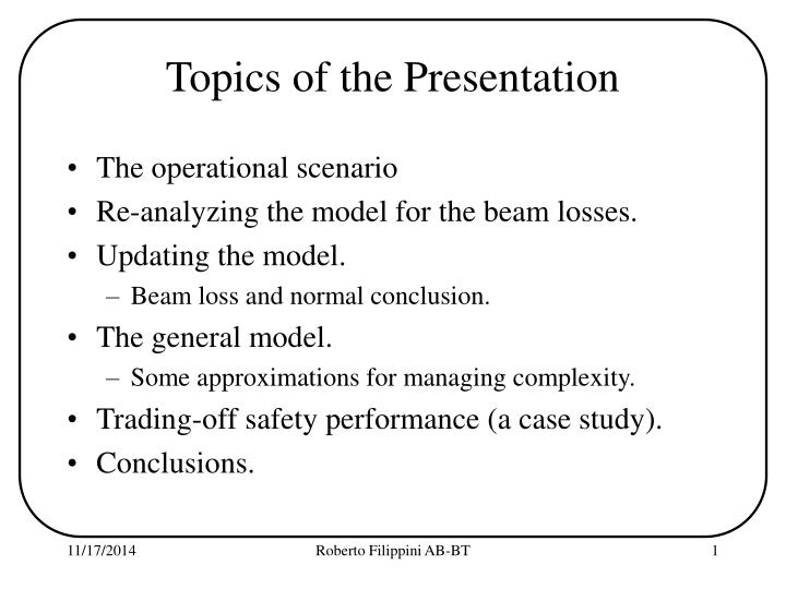 Topics of the Presentation